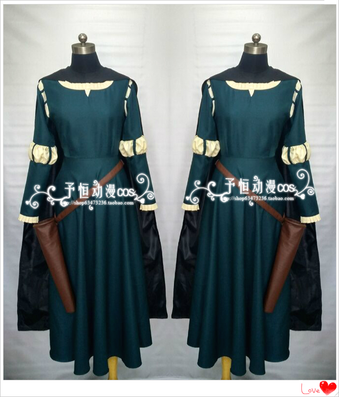 Movie Brave Princess Merida Costume Cosplay Fancy Dress with Cloak Cape Suede Fabric Material Cosplay Outfits Adult Size