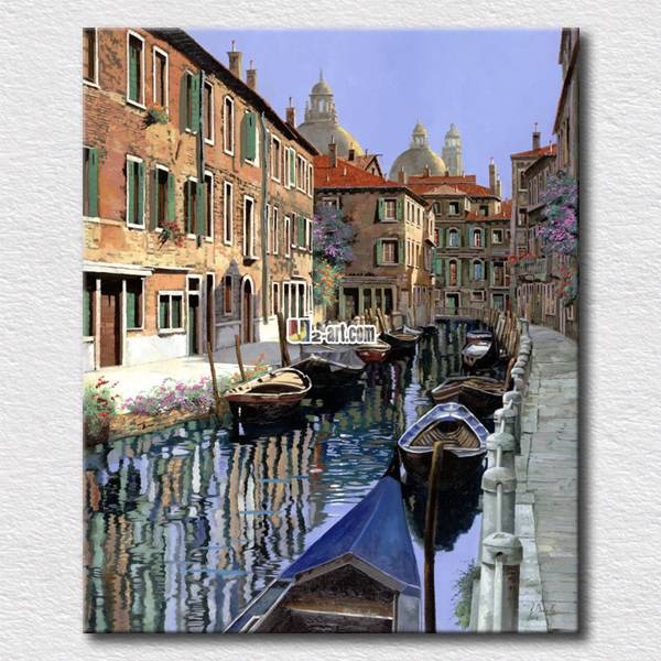 Pictures Of Old City River Breeding Many People Oil