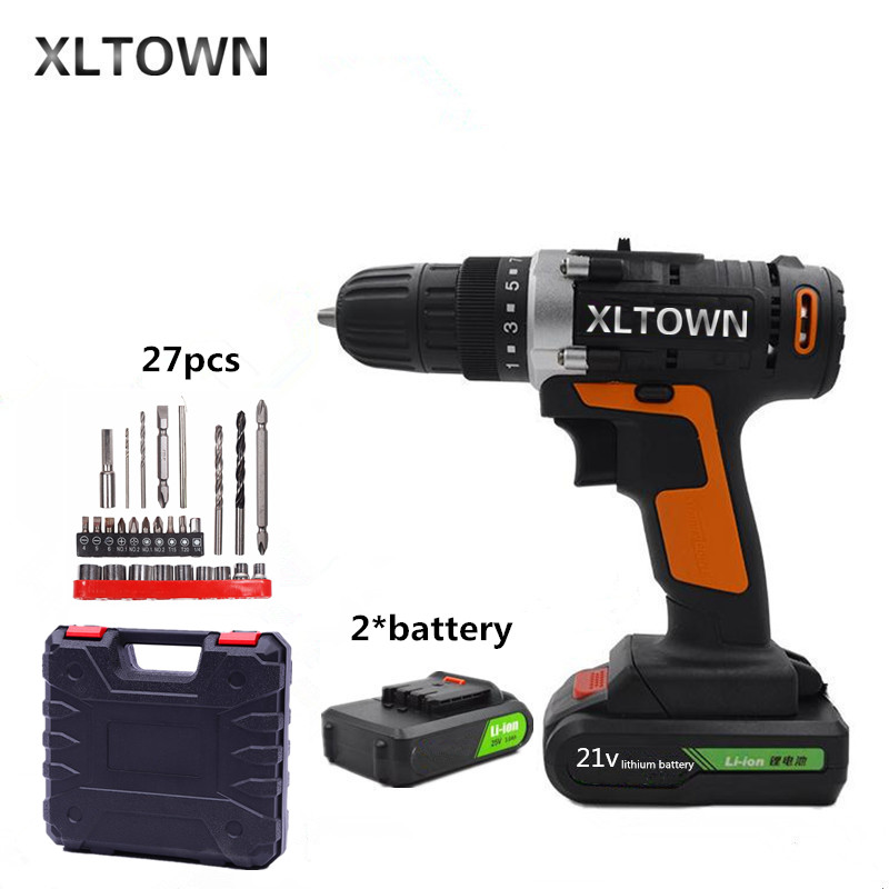 цена на XLTOWN 21v mini cordless electric with 2 battery drill rechargeable lithium battery electric screwdriver household power tools