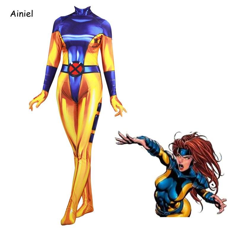 Ainiel Movie 3D Movie X-Men Jean Grey Cosplay Costume Phoenix Super Hero Zentai jumpsuits Halloween Party For Adult Women Kids