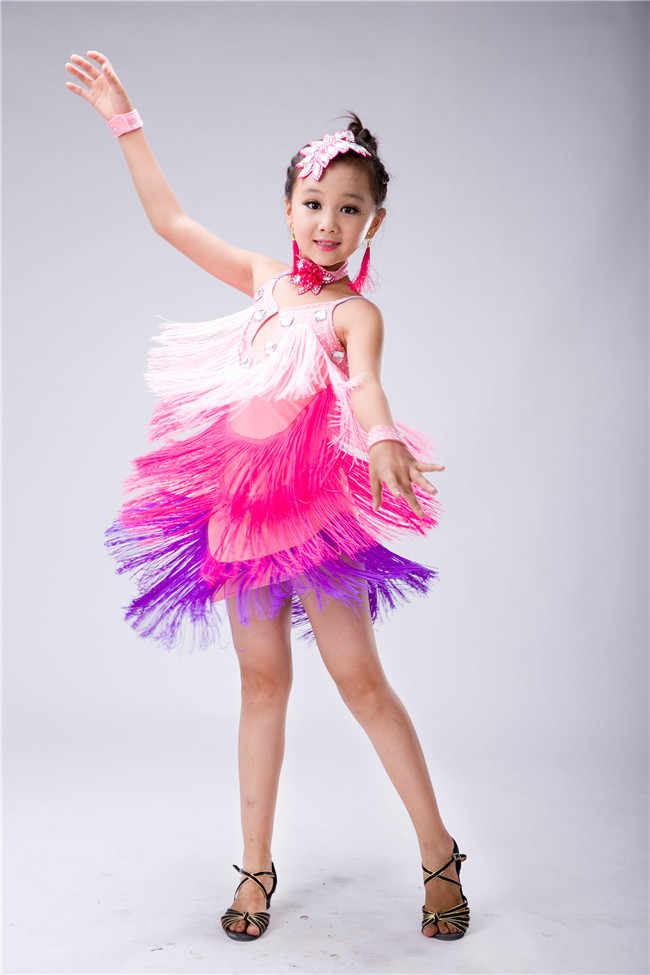 e0e382ddc ... Fringe Latin Dance Competition Sexy Child latin Dance Dress for Girls  Samba Salsa Costumes for Kids ...