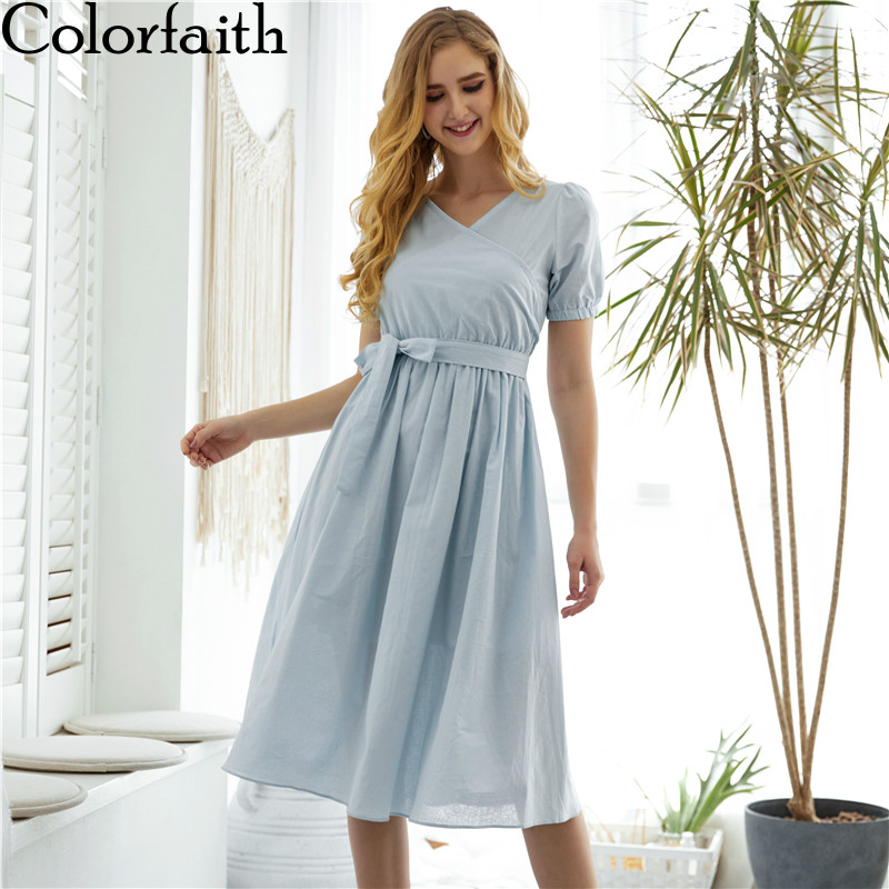 Colorfaith New 2019 Women Dresses Spring Summer Sweet Casual Long Sky Blue Dresses Lace Up Bow