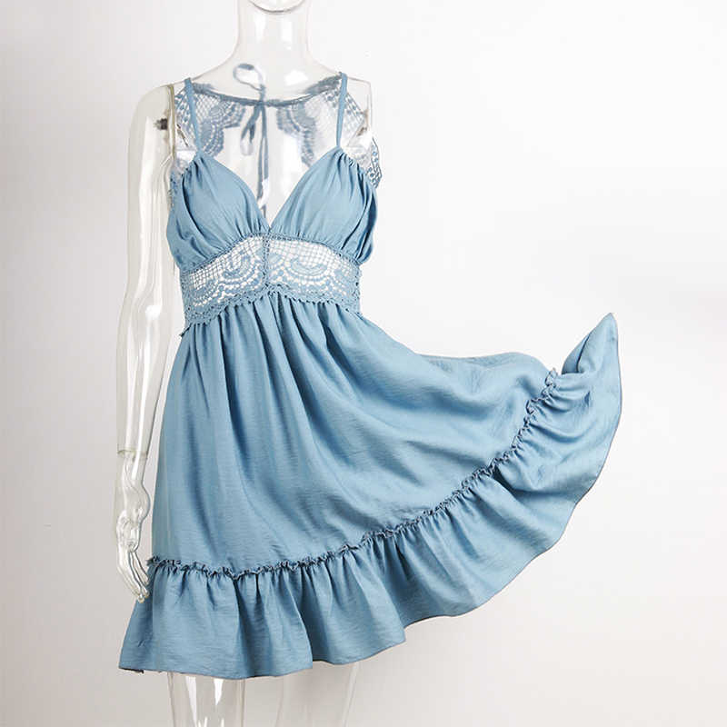 NewAsia Garden женское летнее платье 2018 кружевное пляжное платье с открытой спиной богемное платье с глубоким v-образным вырезом и оборками новое платье Vestidos