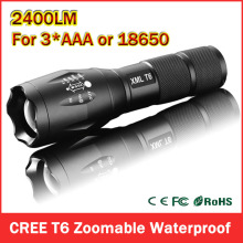 Big Promotion CREE XML T6 LED Flashlight extremely bright 2400 Lumens adjustable 5-mode Zoomable LED Torch Free shipping ZK93