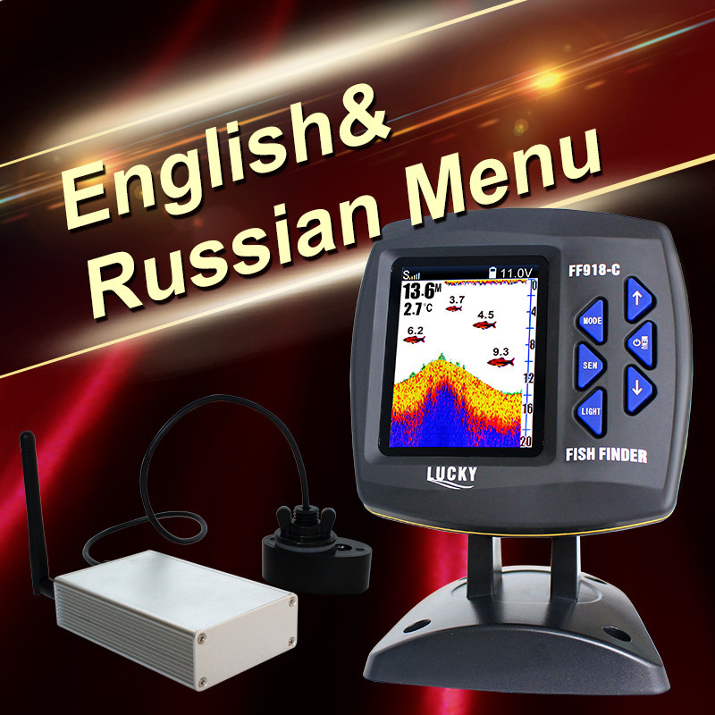 Real Lucky Ff918-cwl Fishfinder Supplies Fishing Sonar Color Boat Fish Finder 300m980ft Wireless Operating English Russian Menu эхолот lucky ff918 180d