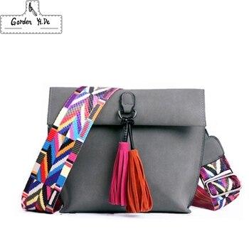 2019 Baru Wanita Scrub Desain Kulit Selempang Tas dengan Rumbai Warna-warni Tali Bahu Tas Perempuan Kecil Flap Tas
