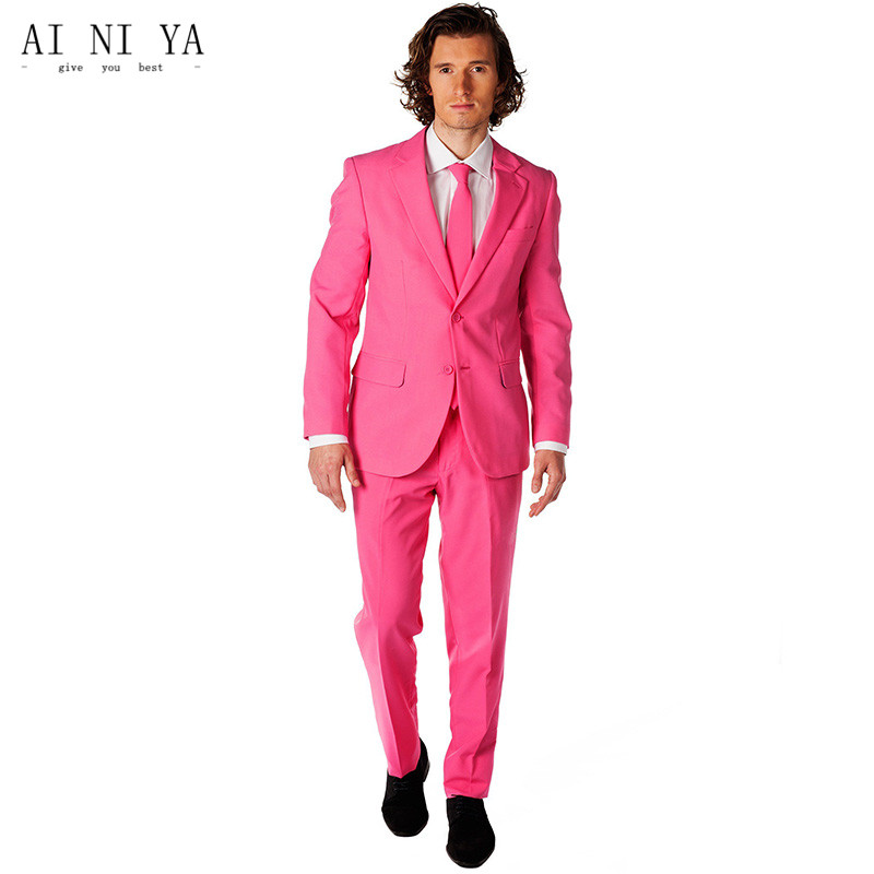 הכי חדש Custom Made הוורוד חליפות גברים חתונה לנשף Slim Fit 2 Pieces ללבוש חתן חליפת בוקר טוקסידו Best Man מעיל + מכנסיים