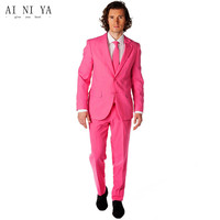 Newest Custom Made Hot Pink Men Wedding Prom Suits Slim Fit 2 Pieces Tuxedos Best Man Morning Suit Groom Wear Jacket+Pants