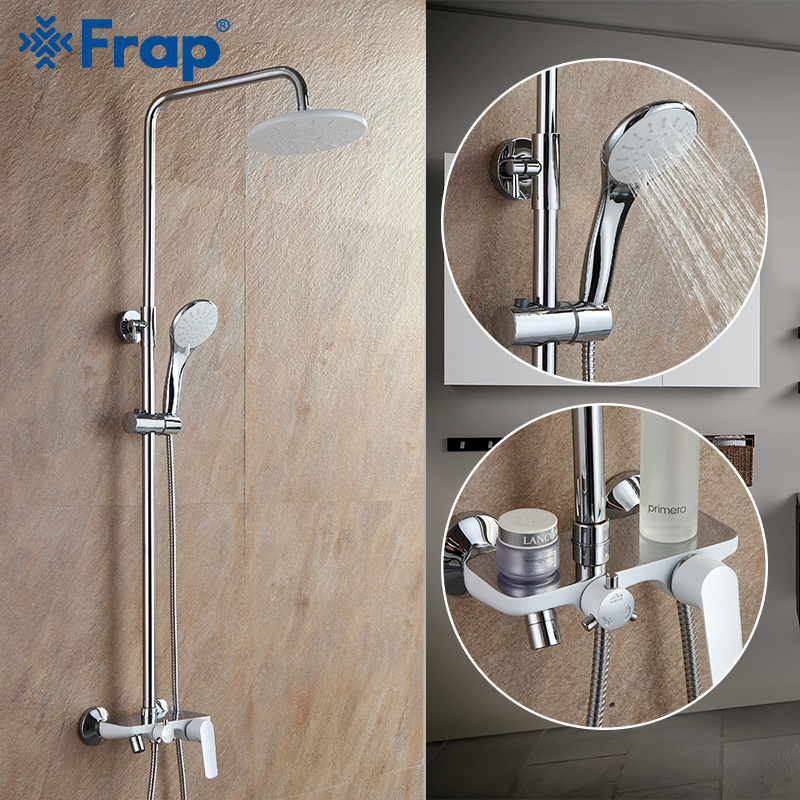 FRAP shower Faucet wall mounted brass shower faucets bathroom rainfall shower sets concealed handle waterfall faucet griferia   FRAP shower Faucet wall mounted brass shower faucets bathroom rainfall shower sets concealed handle waterfall faucet griferia