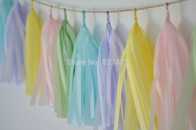 100pcs 14 mixed pastel colors 17gsm tissue paper tassels garland
