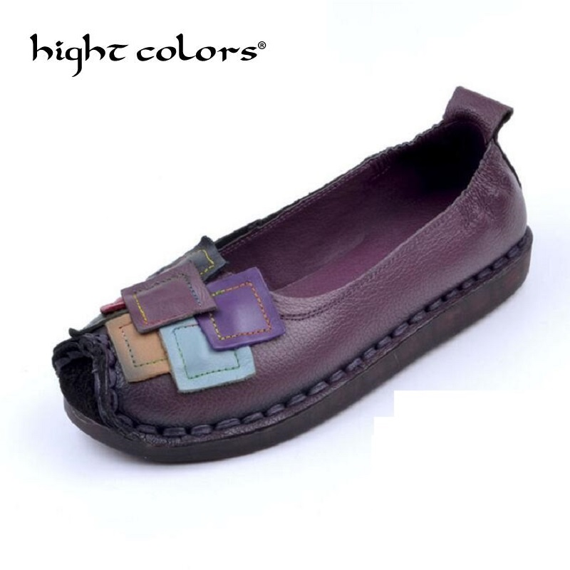 Handmade Genuine Leather Shoes Women Retro Soft Bottom Ballet Flat Shoes Comfortable Casual Shoes Women Loafers Black Purple women shoes 2018 new footwear slip on ballet hollow genuine breathable soft flat shoes women comfortable loafers shoes ladies