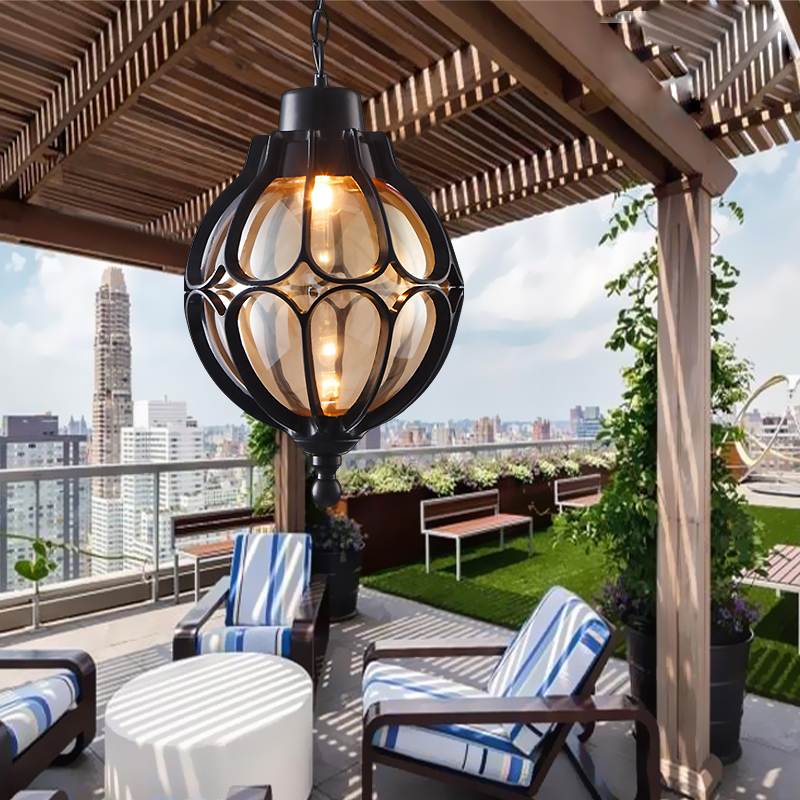 Винтаж открытый балкон Стекло шар Европейский винограда Водонепроницаемый Алюминий люстра E27 лампы