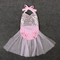 EMS DHL Free 2017 NEW Baby Girls Sequins Tutu Skirt Romper Jumpsuit Summer Sunsuit BlackLess Pink Outfits Clothes 0-24M Infant