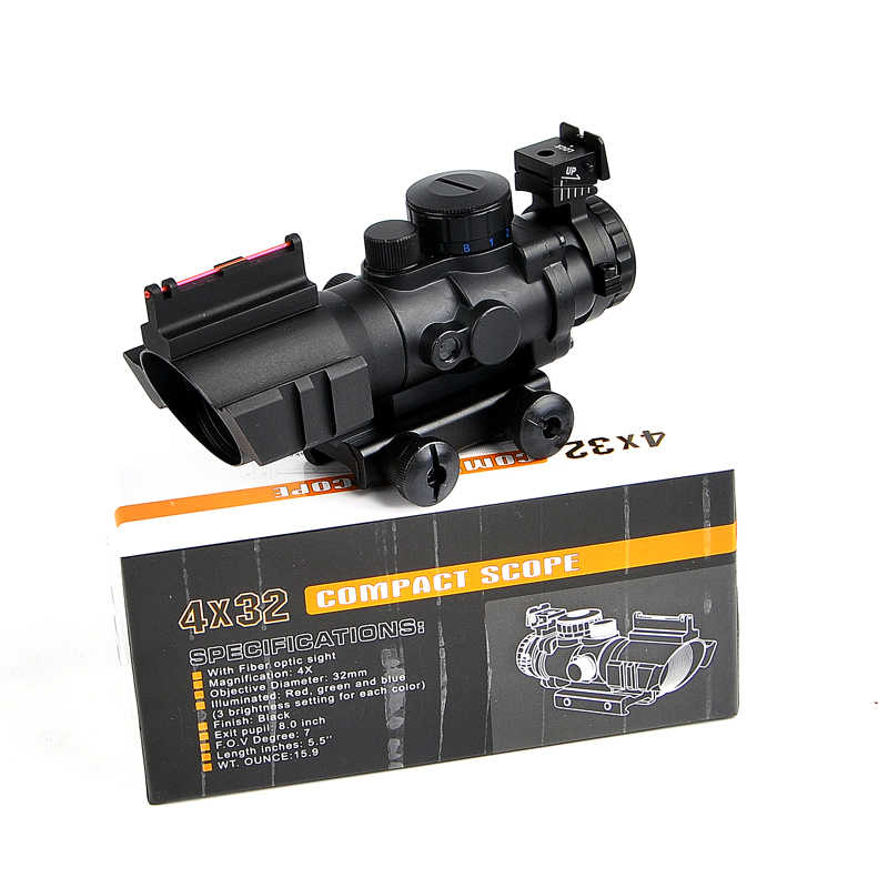 CS 4X32 Acog Tactical Optical Riflescope Red&Green&Blue W/ Tri-Illuminated  Reticle Fiber Rifle Scope For Hunting Scopes