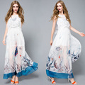 Silk Dress 2016 Summer Style High Quality Runway Designer Brand Elegant Long Dress Women's Sleeveless Printed Maxi Party Dresses