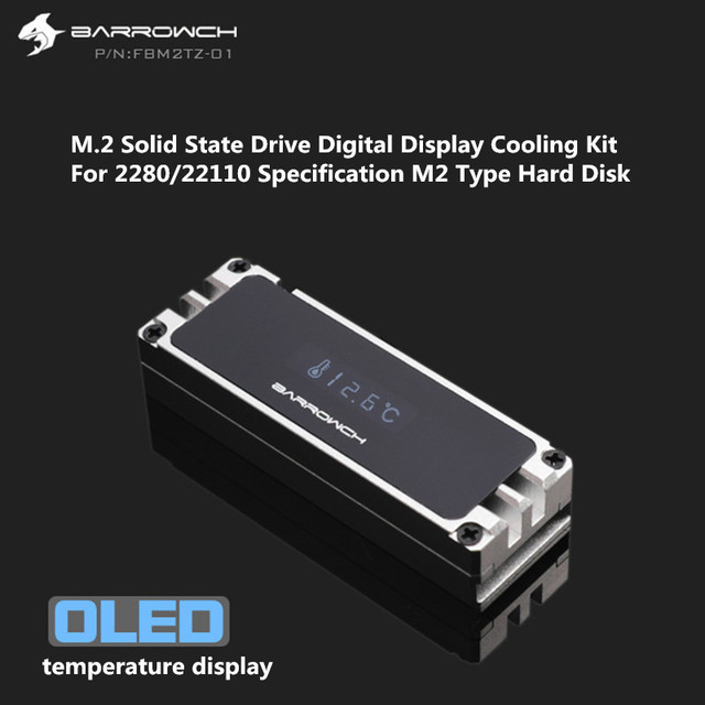 Barrowch M.2 SSD Heatsink Cooling Kit + Digital OLED Thermometer Display Aluminum For 2280 22110 PCIE SATA M.2 Solid State Drive