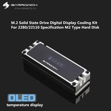 Barrowch M.2 SSD Heatsink Cooling Kit + Digitale OLED Thermometer Display Aluminium Voor 2280 22110 PCIE SATA M.2 Solid State drive