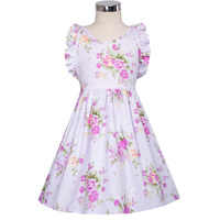 2017 New Kids Girls Vibrant Floral Pattern Cotton Vestido Children Ruffles Tank Lace Up Cross Back