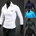 2015 Male autumn Long Sleeve Shirt lapel pocket simple Korean men's B09 30