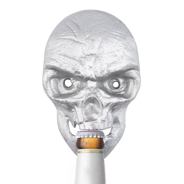 Wall Mounted Skull Shaped Beer Bottle Opener