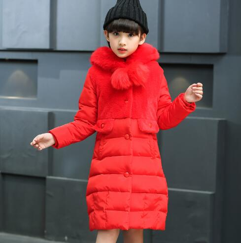 2017 Fashion Medium-long Winter Coat for Girls Children Clothing Girls Cotton-padded Jacket Hooded Kids Outerwear & jackets new winter women long style down cotton coat fashion hooded big fur collar casual costume plus size elegant outerwear okxgnz 818