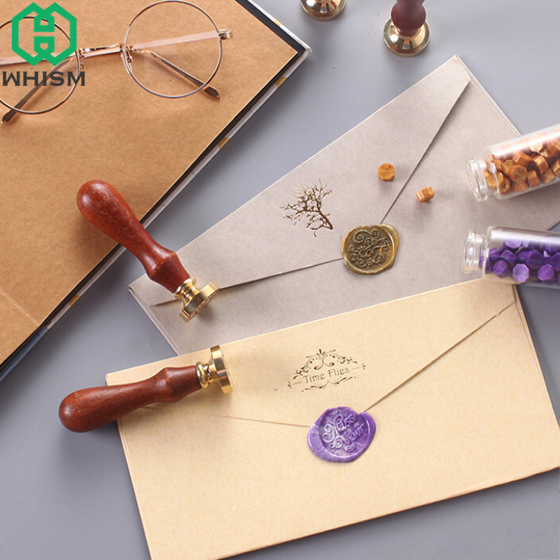 Us 3 65 16 Off Whism Vintage Brass Head Wax Seal Stamp Wedding Invitation Stamps Greeting Wooden Sealing With Handle In