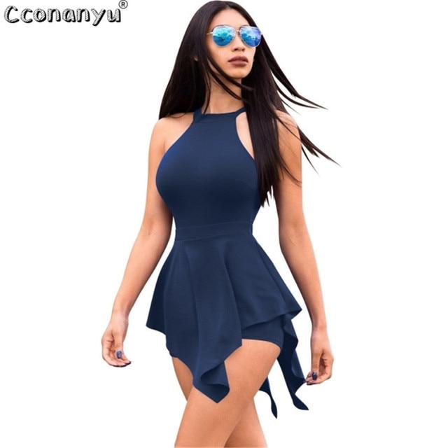 2019 Casual Playsuit Summer women Beach Jumpsuit skinny sexy Ruffles Elegant Slim Women Clothes White Black Sexy Short Pants 3