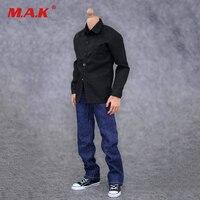 1:6 أسود قميص الذكور ملابس العمل accessoies و الجينز دعوى جندي الملابس المحددة ل 12 بوصة الرقم دمية الذكور