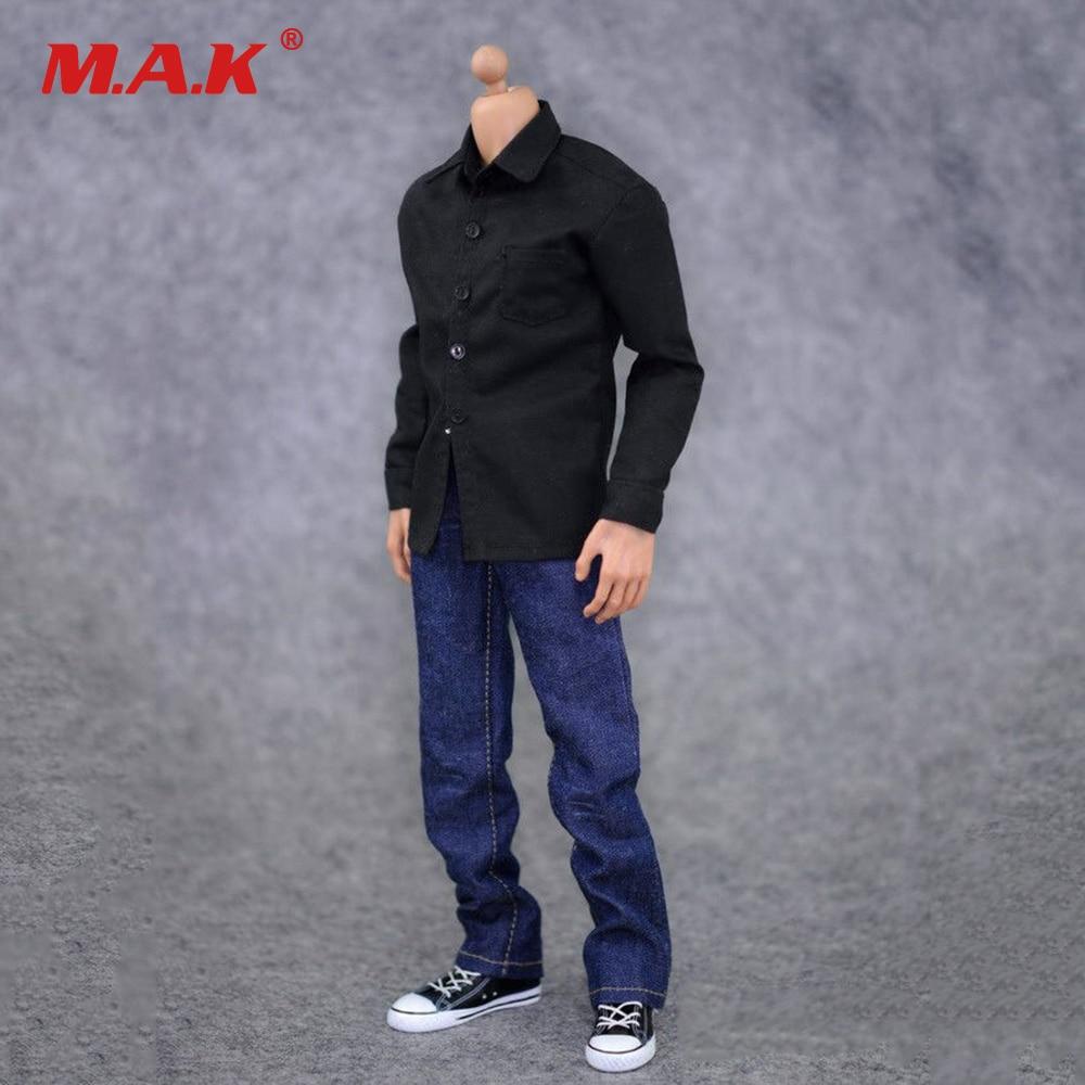 1:6 Male Clothes Action Figure Accessoies Black Shirt & Jeans Suit Soldier Clothes Set For 12 inch Male Figure Doll 1 6 male clothes action figure accessoies black shirt