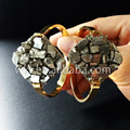 WT-B205 Wholesale Sparkly Druzy Cuff Bracelet  fashion Pyrite Swing Cuff Statement Bracelet