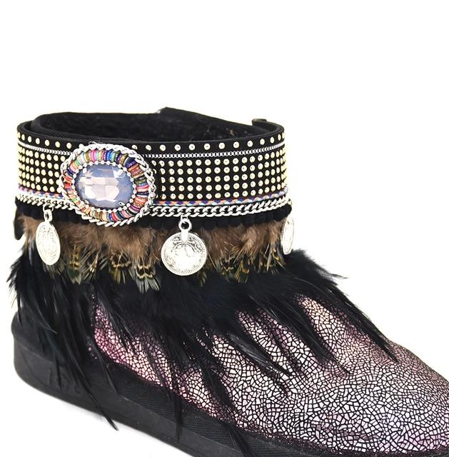Descalzo Sandalias descalzas Tobillera pulsera de Boho Gypsy vintage coin charm tobilleras borla de plumas Negro encanto Tobillo bareclets