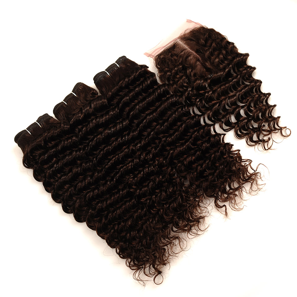 Pinshair Deep Wave Indian Hair 3 Bundles With Closure Brown Color 4 Non Remy 100 Thick Human Hair Weft Hair Bundles With Closure (27)
