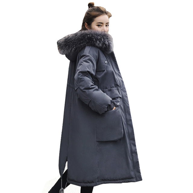 2df7ddc27e273 Plus Size Winter Women Jacket Coats Big Fur Hooded Warm Parka Jackets Long  Thicken Down Cotton