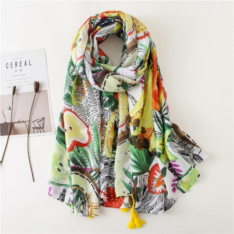 2020 Spring Autumn Fashion Luxury Brand Print Viscose Shawl Scarf Women High Quality Printe Warm Hijabs And Wraps Muslim Sjaal