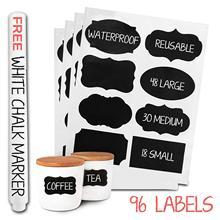 METABLE 96 Chalkboard Labels Bulk - Dishwasher Safe Chalk Board Mason Jar Removable Waterproof Blackboard Sticker Label