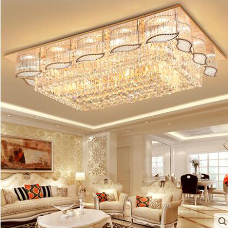Led ceiling lamp luxury crystal headlight rectangular living room lamp modern minimalist atmosphere restaurant bedroom lamps rectangular living room lamp modern minimalist bedroom led crystal ceiling lamps creative personality hall restaurant lighting