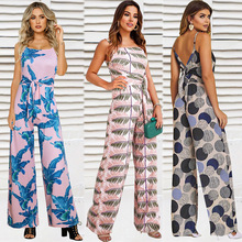 Casual Jumpsuit Milk Silk Polyester Slim Long Waistband Loose Horn Style Jumpsuit Backless Printed Ethnic Style Jumpsuit