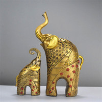 Resin craft creative 2PCS/SET Golden Elephant ornaments Europe high grade desk decoration home accessories decorations for home