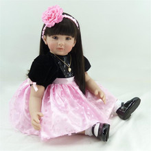 22 inch 55 cm   reborn Silicone dolls, lifelike doll reborn babies toys The pink flower beautiful girl