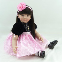 22 inch 55 cm reborn Silicone dolls, lifelike doll reborn pink flower beautiful girl Holiday gift