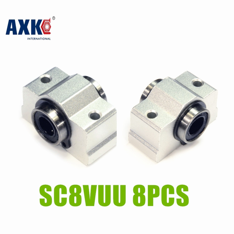 AXK 8pcs/Lot SCV8 SCV8UU SC8VUU 8mm Linear Bearing Block Bushing with LM8UU For CNC SC8VUU 8PCS 1pc scv40 scv40uu sc40vuu 40mm linear bearing bush bushing sc40vuu with lm40uu bearing inside for cnc