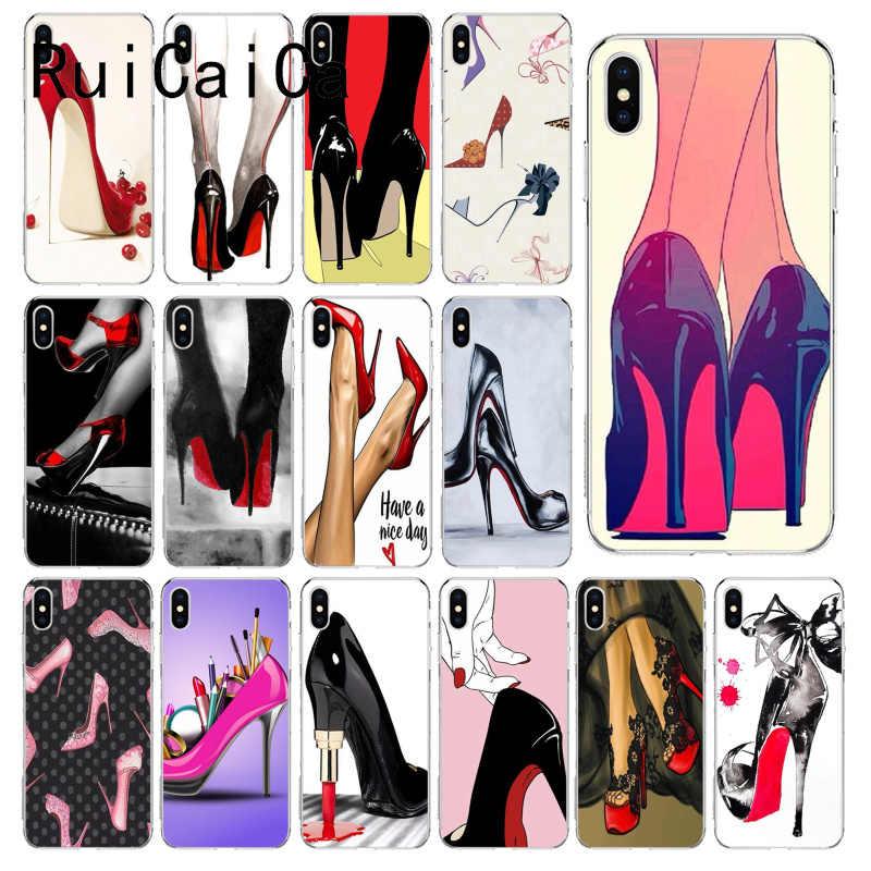 RuiCaiCa kırmızı yüksek topuk ayakkabı Yumuşak Silikon TPU Telefon Kapak için 8 7 6 6 S Artı X XS MAX 5 5 S SE XR 10 Kılıfları