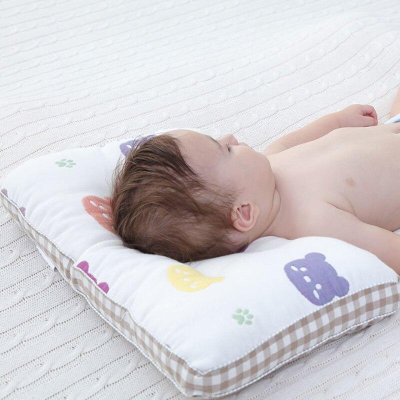 Baby Cotton Anti Roll Pillow Sleep Support Flat Head Bedding Mattress Breathable