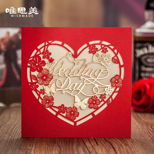 10pcs/lot Laser cut Heart shaped Red Flowers Wedding Invitations ...