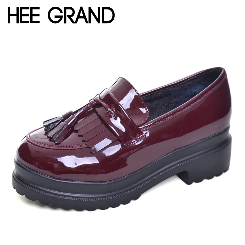 HEE GRAND 2017 New Women Oxfords British PU Patent Leather Platform Flats Spring Round Toe Slip-on Casual Shoes Woman XWD3511 hee grand pointed toe pumps british style med heels patchwork t strap oxfords shoes woman casual vintage pump shoes xwd2469