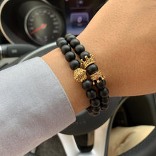 2pcs/set Men Bracelet Set CZ lion king crown charms Natural stone Beads Punk Bracelets & Bangles for men Jewelry friendship Gift