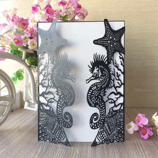 20Pcs Laser Cut Paper Craft Beach Theme Seahorse Wedding Invitation Card Customized Birthday Party Suppliers