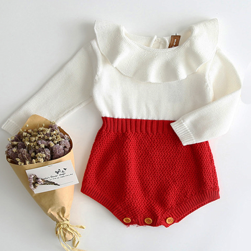 Baby Knitted Clothes Kids Newborn Baby Girl Bodysuits Princess Sleeve Infant Autumn Toddler Knitted Coveralls Children Clothing