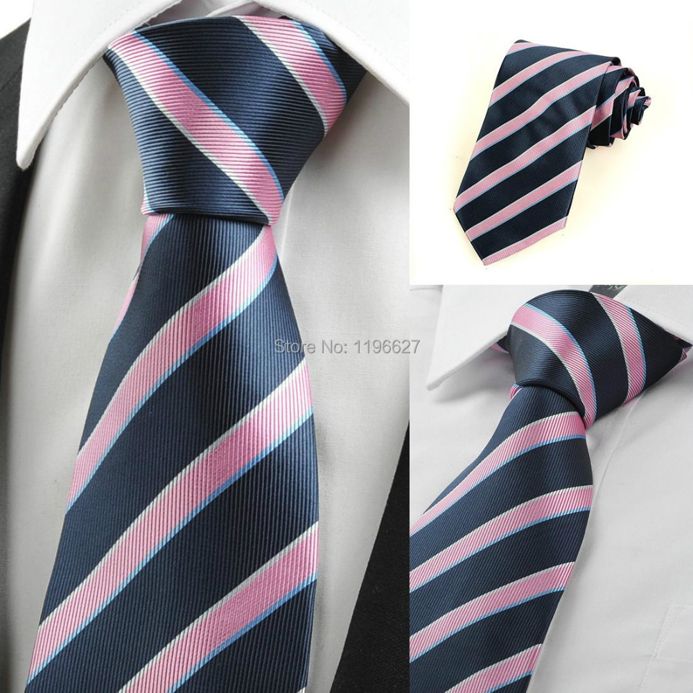 Hot Selling Men's Fashion Neck Ties Dark Blue & Pink Stripe Classic Jacquard Woven Necktie Tie suit Casual Formal Events - xtopmall store