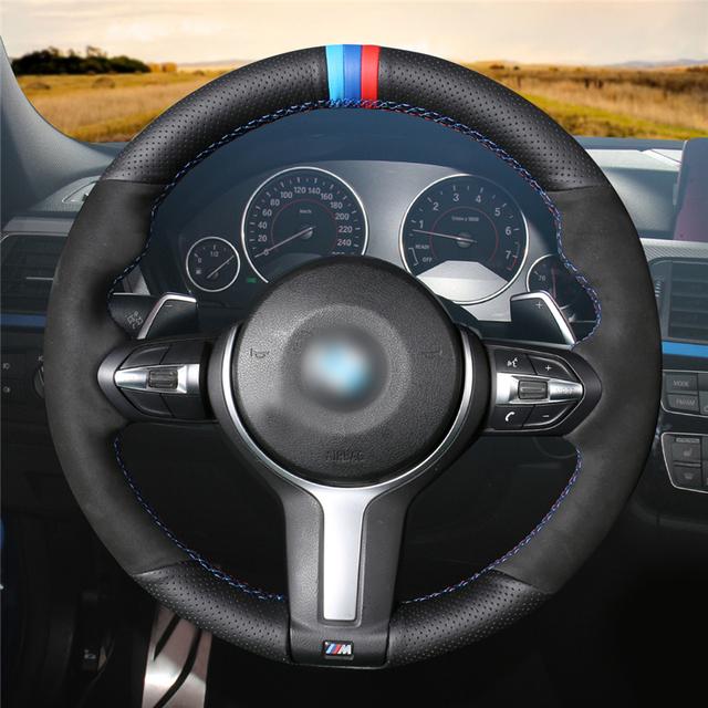 Negro cuero genuino de gamuza negro cubierta de volante para BMW F87 M2 F80 M3 F82 M4 M5 F12 F13 M6 f85 X5 M F86 X6 M F33 F30 M